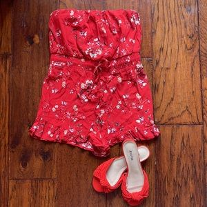 Red Floral Strapless Romper